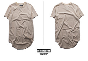 Mens Long Tshirts Sommer Casual Longline Saum Curved Street Tees Kurzarm Tops Homme T-Shirt
