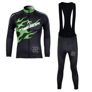 MERIDA мужчины весна осень Велоспорт длинные рукава Джерси нагрудник брюки наборы дышащий Холодное сопротивление тонкой пригонки ТЕННИСКА 61303X