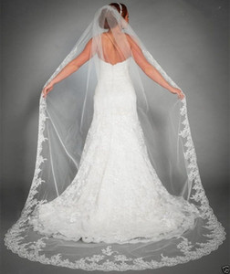 Cheap lace applique edge one layers white or ivory 2.5M Bridal Veils Bridal with tomb Accessories XWZ00062