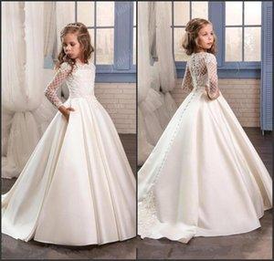 Prenses Beyaz Dantel Çiçek Kız Elbise 2019 Yeni Sheer Uzun Kollu İlk Communion Doğum Günü Partisi Elbiseler Kızlar Pageant Elbise Dü ...