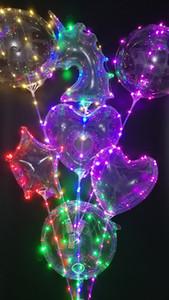 2018 Lumineux Licorne Bobo Ballons LED Lumière Ballon 18 pouces Ballons Pour La Fête De Mariage Festival Décorations Lumineuses Jouets Express express