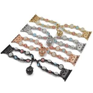 Apple montre BANDES 42mm / 44mm 5 4 3 2 1 Conception de bijoux bracelet bracelet perle lumineuse pour les femmes