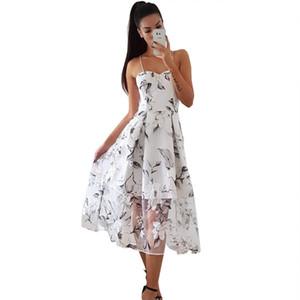 горячие продажи новой женской одежды Европейский и американский штамп ленты марлевые перспективы Большой маятник платье