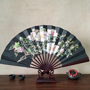 Novos Homens Do Vintage Dobrável de Bolso Fã Estilo Chinês Padrão de Flor de Lótus De Seda De Bambu Dobrável Ventilador de Mão 1 PCS