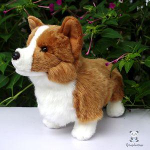 최근 박제 동물 서있는 개 시뮬레이션 Corgi Doll 어린이 장난감 플러시 크라운 고품질 완구 선물