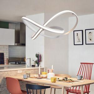 Nordic Suspensão LED Pendant Light Luminaire criativa Curved Linear Chandelier