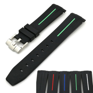 watch band Suitable for shuigui curved head with double color 20mm high-grade silicone watch strap
