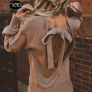 NewAsia Garden Sexy Backless Sweater Mujeres Pullover Suéter de punto suelta Top Otoño Invierno Mujer Tejer Pullovers