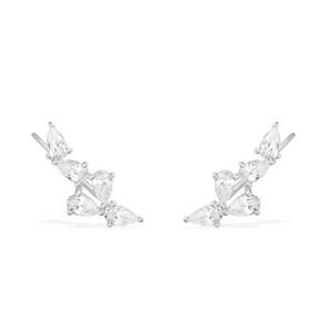 Yeni Gelmesi 925 Ayar Gümüş Kadınlar Için Kristal Kulak Manşet Kübik Zirkon Kulak Tırmanma Klip Küpe Kadınlar Piercing Kulak Paletli Takı