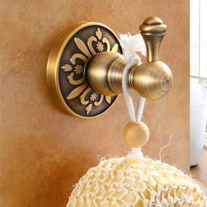 유럽 빈티지 조각 된 로브 후크 의류 훅 화장실 골동품 황동 완료 알루미늄 타월 행거 욕실 모자 후크 욕실 액세서리