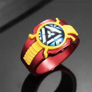 Fashion Luminous Lighting Ringe The Avengers Iron 3 Man Ring Rot Emaille Luminous Lighting Night Glows Ringe für Iron Man Fans