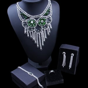 New Trendy Luxury Bridal Jewelry Sets Sparkling Gift Green Crystal Necklace Earrings Bracelet Ring Set For Women Wedding Jewelry