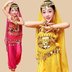 bellydance oriental costumes children belly dance costume top pants set grils  sari clothing clothes bollywood for kids