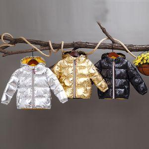 À capuche vers le bas manteaux espace polyester argent Tinckening pain vêtements remplissant coton intérieur jaune fermeture à glissière douce Angleterre Style garçons filles hiver