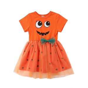 Emmababy New Cute Toddler Enfants Fille Halloween Citrouille Imprimé Robes De Robes Robes De Soirée Vêtements