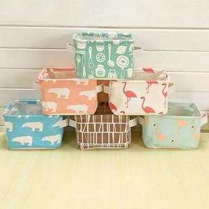 Mignon Flamingo Desktop Storage Basket Cosmetic Divers Organisateur Box Étanche Coton Lin Sous-Vêtements De Stockage Cubic DDA758 Sac À Langer