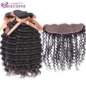 Virgin Wave Deep Wave 2 Bundles con encaje Frontal cierre 13x4 oreja a oreja Frontal Malasia Extensiones de cabello humano Beau diva Envío gratis