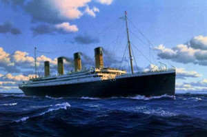 Titanic on ocean Handpainted HD Print seascape ship Art Pintura a óleo sobre tela, Wall Art Home Decor Multi tamanhos / opções de quadros skeb l121