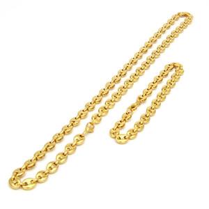 Collier et bracelet de grain de café mis en acier inoxydable de haute qualité Mens Jewellry deux couleurs Hip Hop en option