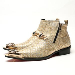 Moda snakeskin hakiki deri ayak bileği çizmeler keskin demir kafa erkekler kısa patik freeshipping büyük boy EU46