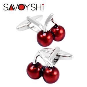 Deep Red Cherry Cufflinks for Mens Shirt Cuff Bottons High Quality Brand Enamel Cufflinks Wedding Gift SAVOYSHI Wholesale Jewelry Design