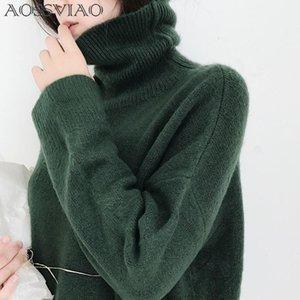 AOSSVIAO Donna Maglioni e pullover Autunno Turtlenect Maniche lunghe Pullover Beige Colore verde Donna Casual Maglia maglioni