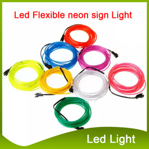 3M LED Strip Flexible Neon Sign Light Glow El Hable Cuerda Tubo Neon Light 8 Colores Coche Danza Partido Disfraz + Controlador Luces de Navidad