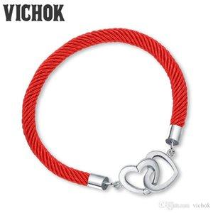Double Coeur 925 Sterling Bracelet En Argent Coeur Fermoir Corde Rouge Charme Bracelets Bracelets Pour Femmes Hommes Fine Jewelry VICHOK