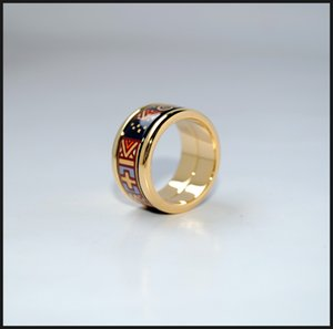 Klimt Series rings 18K gold-plated enamel round rings Top quality ring for women Wedding rings for gift