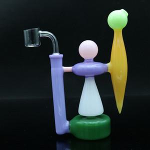 """الملونة 7.8 """"الزجاج بونغ داب الحفارات أنابيب المياه الزجاج مع 14 ملليمتر الكوارتز السجق الفوار بونغ Recycler كوب"""