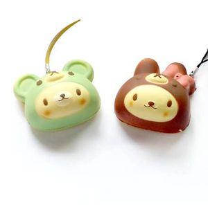 Kuutti Squishy Ramdon 1 pc Cute in Brown Bunny o Green Bear Disfraces Squishy Cell Phone Strap Charm Soft PU Foam toy