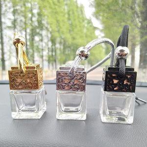 Cube Car Perfume Bottle Автомобильный подвесной духи Освежитель воздуха для эфирных масел Диффузор Аромат Пустая стеклянная бутылка