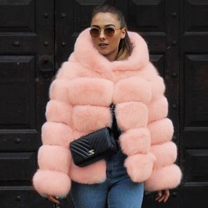 UPPIN Faux Fur Coat Jacket with Hood 2018 Women Pink Plus Size Fashion Winter  Fur Jackets Womens Tops Girls New Hooded Coats