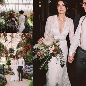 케이트 미들 제니 Packham 레이스 보헤미안 긴 소매 웨딩 드레스 벨트 우아한 V 넥 Gardern 국가 신부 웨딩 드레스