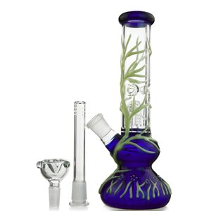 In The Dark Glass Bongs Su Borular Cam Suyu Bongs UV Bong GID01 Sigara damlasını Rig 18.8mm Ortak büyütün