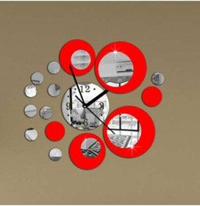 حار بيع الحديثة سطح مرآة كبيرة جولة ساعة الحائط غرفة المعيشة أريكة خلفية ملصقات الحائط diy 3d مرآة ملصقات الحائط wanduhr