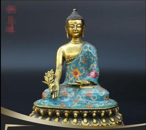 네팔 Sakyamuni 청동 부처님 동상 칠보 약사 화석 실크 골드 수제 수제 용품