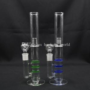 Nid d'abeille en verre bong couleur bleu vert avec 18mm bol plates-formes pétrolières bongs en verre recycleur bong Tri Honey Comb Ash Catcher Bo001