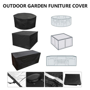 Black Garden Patio Waterproof Furniture Cover Set Table Bench Cube Outdoor Tablecloth Table Runner 4 Sizes Rectangle Round
