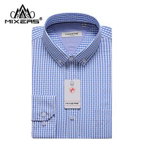 Marka 2018 Yeni Kumaş erkek Ekose Elbise Gömlek Uzun Kollu% 50% Bambu Fiber Erkekler Mavi Gömlek Klasik Fit Rahat Gömlek Erkekler Büyük Boy