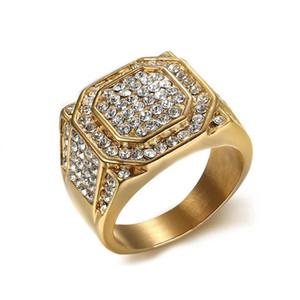 أزياء رجالية الفولاذ المقاوم للصدأ الهيب هوب مجوهرات مثلج خارج بلينغ بلينغ كامل حجر الراين كريستال ساحة خاتم الرجال