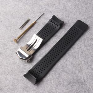 새로운 시계 밴드 스트랩 22mm 스테인레스 스틸 배치 블랙 다이빙 실리콘 고무 구멍 시계 밴드 스트랩 기어 S3 교체