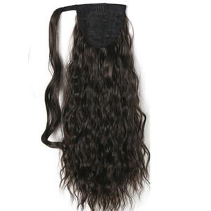 """120 г кудрявый вьющиеся хвостики 55 см,22 """" клип в хвост наращивание волос BlackBrown вьющиеся хвощ конский хвост человеческих волос шиньоны"""