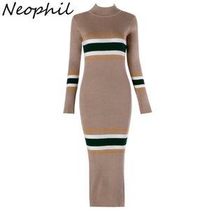 Neophil 2018 Vintage Negro Mujer Invierno Rayas Patchwork Punto Lápiz Midi Vestidos Manga Larga O Cuello Bodycon Vestidos D1906