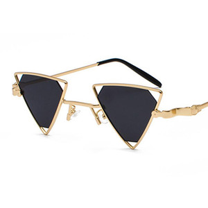 wholesale High Quality Vintage Punk Triangle Sunglasses Women Men Metal Frame Black Red Yellow Pink Sun Glasses Retro Shades Gifts