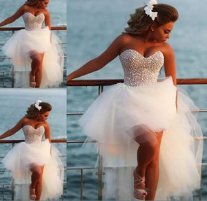 Country Style Garden Sleeveless Beaded Pearls Short Wedding Dresses 2018 Bohemian Crystals Beach Western Hi Lo A Line Bridal Gowns Vestios