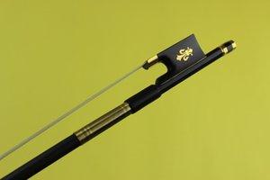 4pcs professional 4 4 black Carbon fiber violin bow white Horsehair Ebony Frog