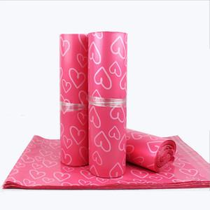 100pcs / lot Pink Poly PE Mailer Express Bag 28 * 42cm Bolsas de correo love heart Envelope Self-Seal Bolsas de plástico para joyería Producto de niñas