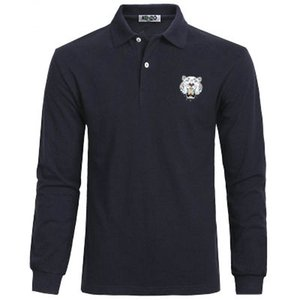 Casual Kenzo gesleevt lange Polo Shirts LuxuxMens T-Shirts Designer Modemarke Brief Tiger Frühlingsherbstkleidung Mannhemden Baumwolle Tops