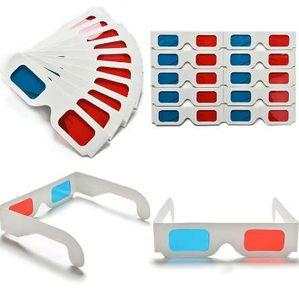10 pçs / lote Papel Universal Anaglyph Óculos 3D Óculos de Papel 3D Ver Anaglyph Vermelho Ciano Vermelho / Azul 3D Vidro Para Filme EF